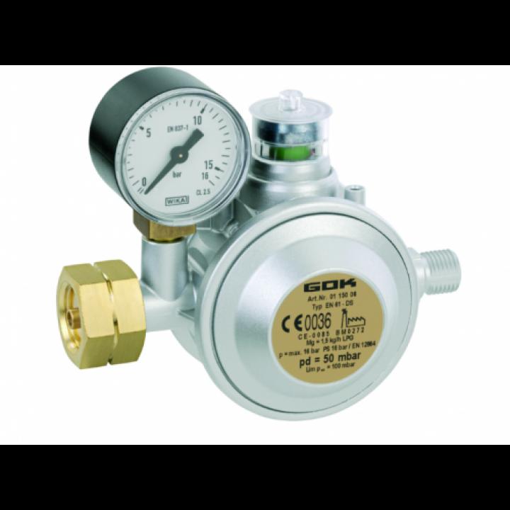 Газовий двух камерний регулятор низького тиску GOK EN61-DS 1,5 кг/год 29 (30) мбар Komb.AxG1/4LH-KN