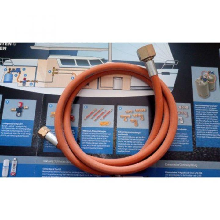 Шланг газовий для з'єднання обладнання 1/4L - 1/2R, 1,5м