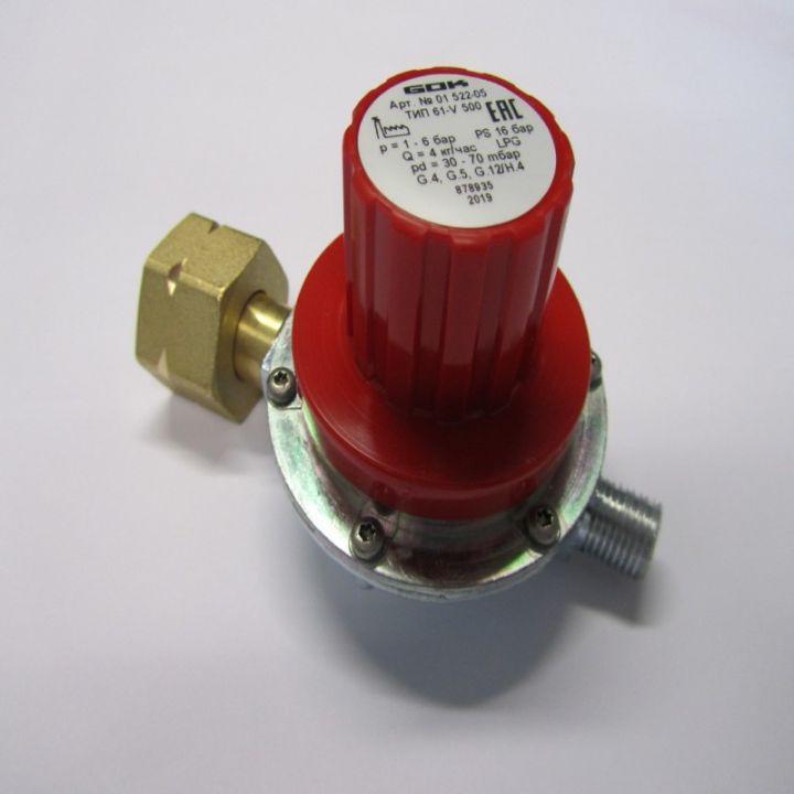 Регулятор низького тиску GOK 4 кг/час від 30-70 мбар Komb.Ax вихід G 1/4 LH-KN