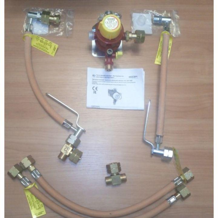 Газобалонка GOK на 4 балона, 4 кг/год 37 мбар, автоматичним перемикаючим блоком та вбудованим регулятором м'яка зв'язка