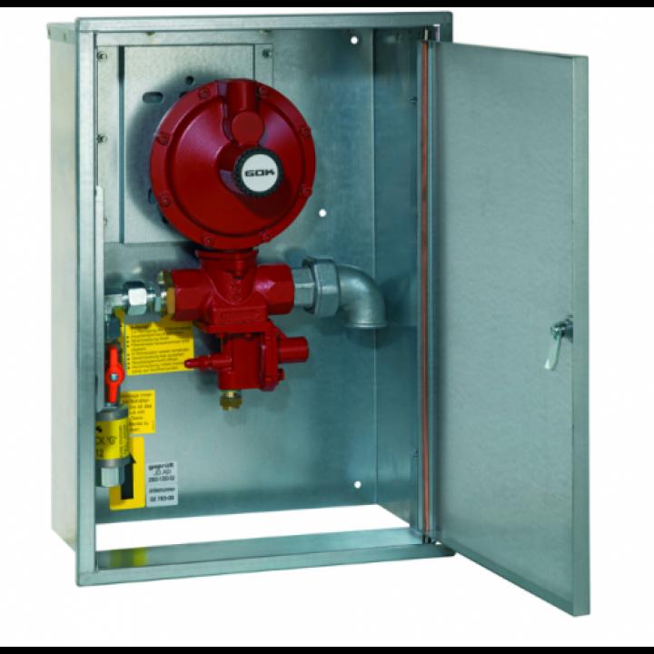 Регулятор ємності 2- ступені з ПЗК та ПСК в ящику з ізоляційною вставкою IG G 1/2 * IG G 1 50 мбар 20-60 кг/год