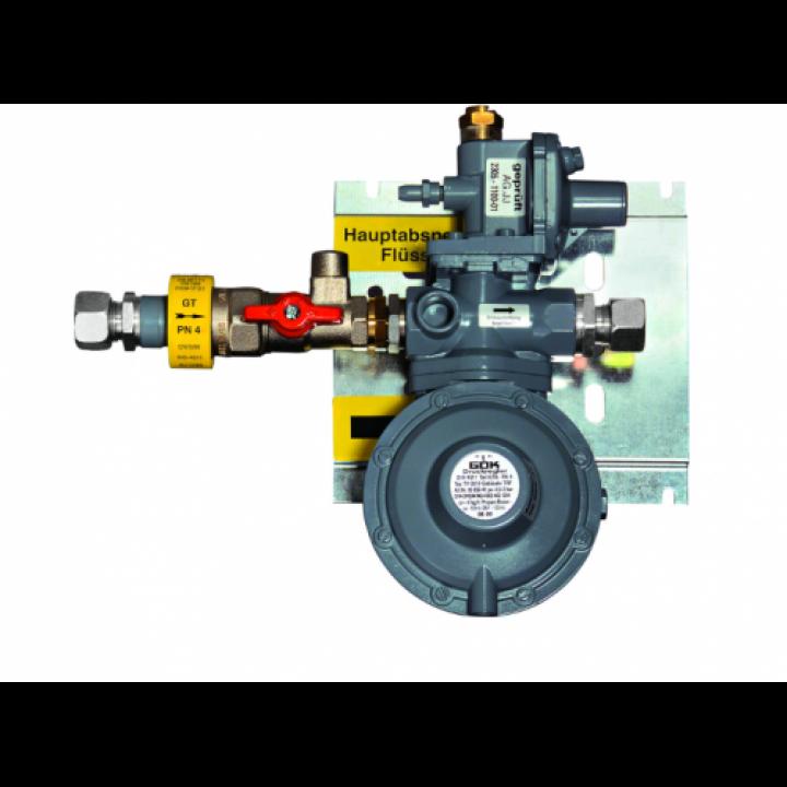 Регулятор ємності 2- ступені з ПЗК та ПСК шина для кріплення та ізоляційна вставка RVS 15* RVS 15 50 мбар 12 кг/год