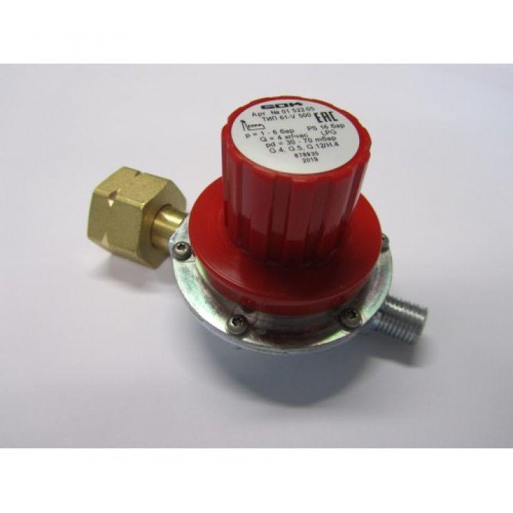 Регулятор регулюємий низького тиску газа GOK 4 кг/час від 30-70 мбар Komb.Ax вихід G 1/4 LH-KN