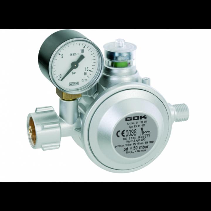 Газовий двух камерний регулятор низького тиску GOK EN61-DS 1.5 кг/час 29 (30) мбар KLF*G1/4LH-KN