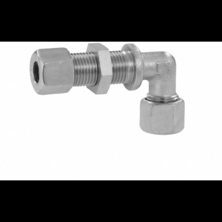Адаптер різьбовий для переходу через стінку кутовий RVS 8 * RVS 8 для труб зєднання діаметром 8 мм